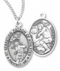 Girl's Oval Double-Sided Volleyball Necklace with Saint Sebastian Back in Sterling Silver
