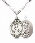 Girl's Pewter Oval St. Christopher Softball Medal