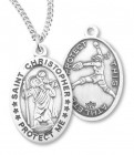 Women's Sterling Silver Saint Christopher Softball Oval Necklace