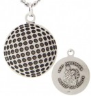 Golf Ball Shaped Necklace with Saint Christopher Back in Sterling Silver