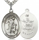 Guardian Angel Army Medal, Sterling Silver, Large