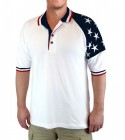 Men's Patriotic Polo with Stars in White