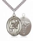 Men's Pewter Oval Saint Agatha Oval Medal with Caduceus