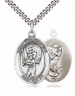 Men's Pewter Oval St. Christopher Baseball Medal