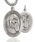 Men's Pewter Oval St. Christopher Motorcycle Medal