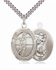 Men's Pewter Oval St. Christopher Volleyball Medal