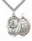 Men's Pewter Oval St. Sebastian Baseball Medal