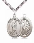 Men's Pewter Oval St. Sebastian Lacrosse Medal