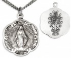 Women's Sterling Silver Round Miraculous Pendant w/ Scalloped Edges with Chain Options