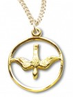 Women's 14kt Gold Over Sterling Silver Cut Out Open Circle Dove Necklace + 18 Inch Gold Plated Chain & Clasp
