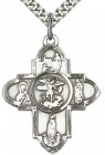 Our Lady 5 Way Cross Pendant, Sterling Silver