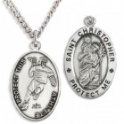 Oval Men's Saint Christopher Lacrosse Necklace