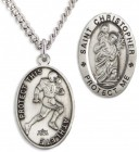 Oval Men's St. Christopher Football Necklace With Chain