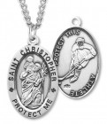 Oval Men's St. Christopher Ice Hockey Necklace With Chain
