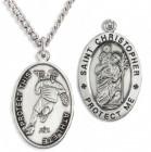 Oval Men's Saint Christopher Lacrosse Necklace