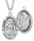 Oval Boy's St. Christopher Martial Arts Necklace With Chain