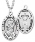 Oval Boy's St. Christopher Weight Lifting Necklace With Chain