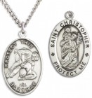 Oval Men's St. Christopher Wrestling Necklace With Chain