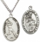 Oval Men's St. Sebastian Baseball Necklace With Chain