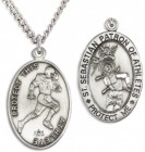 Oval Boy's St. Sebastian Football Necklace With Chain