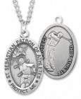 Oval Boy's St. Sebastian Golf Necklace With Chain