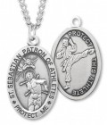 Oval Boy's St. Sebastian Martial Arts Necklace With Chain