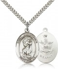 St. Christopher Army Medal, Sterling Silver, Large