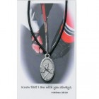 Boys St. Christopher Hockey Medal with Leather Chain and Prayer Card Set