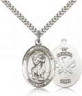 St. Christopher National Guard Medal, Sterling Silver, Large