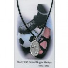 Boy's St. Christopher Soccer Medal with Leather Chain and Prayer Card Set