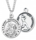 Round Men's St. Christopher Baseball Necklace With Chain