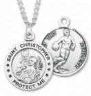 Round Men's St. Christopher Basketball Necklace With Chain