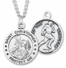 Round Boy's St. Christopher Football Necklace With Chain