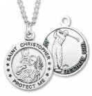 Round Boy's St. Christopher Golf Necklace With Chain