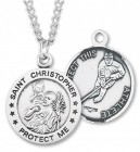 Round Men's St. Christopher Ice Hockey Necklace With Chain