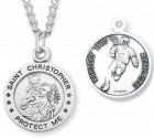 Round Men's St. Christopher Lacrosse Necklace With Chain