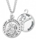 Round Boy's St. Christopher Martial Arts Necklace With Chain