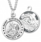 Round Boy's St. Christopher Swimming Necklace With Chain