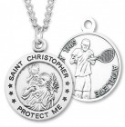 Round Boy's St. Christopher Tennis Necklace With Chain