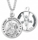 Round Boy's St. Christopher Track Necklace With Chain