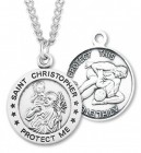 Round Boy's St. Christopher Wrestling Necklace With Chain