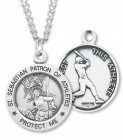 Round Men's Saint Sebastian Baseball Necklace