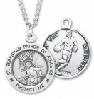 Round Boy's St. Sebastian Basketball Necklace With Chain