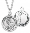 Round Men's St. Sebastian Golf Necklace With Chain