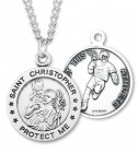 Round Boy's St. Sebastian Lacrosse Necklace With Chain