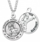 Round Boy's St. Sebastian Martial Arts Necklace With Chain