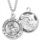 Round Boy's St. Sebastian Swimming Necklace With Chain