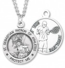 Round Men's St. Sebastian Tennis Necklace With Chain