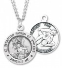 Round Boy's St. Sebastian Wrestling Necklace With Chain