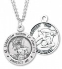 Round Men's St. Sebastian Wrestling Necklace With Chain
